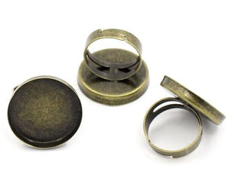2 bronze rings / support for cabochon 25 mm
