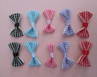 25 bows 5 gingham color 25 mm x 14 mm cotton and elastane
