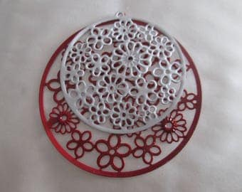 4 prints /connecteurs round red and white filigree 55 and 42 mm