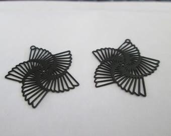 2 flowers black spirals 22 mm metal prints