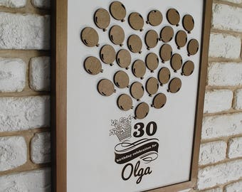 30th Birthday Gifts for her Birthday Gift ideas 30th Anniversary Decorations 30 th birthday Guest book Wood Guestbook Heart Balloons bronze