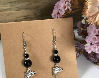 Black beaded Fish Earrings