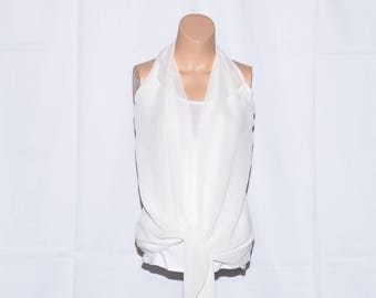 Womans Halter top,Chiffon top,Straps top,White top,Sleeveless top,Girl top,Size 8 UK/4 US