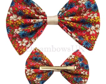 Large red floral cotton hair bows on alligator clip, Pretty red floral fabric hair accessory bows, crocodile hair clips, Girls big hair bows