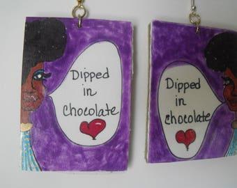 Cardboard Cartoon Earrings - Dipped in Chocolate