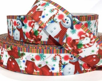 "GROSGRAIN RIBBON  7/8""  HOLIDAY - Christmas  Snowman Candy Cane CH15 - B -  Sold By the Yard"
