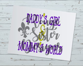 Daddy's Girl & Mommy's World Baby Onsie SVG PNG Digital Design