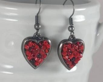 Red Heart Earrings, Heart Earrings, Red Jewelry, Heart Jewelry, Red Earrings, Valentine Earrings, Gifts for her, Valentines Day Earrings
