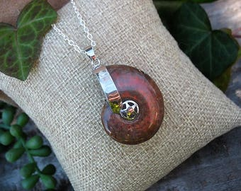 """Red Flash Ammonite Pendant Necklace with 18"""" chain, Opalized Ammonite Pendant Necklace, Ammonite Fossil Necklace, rfamm3"""