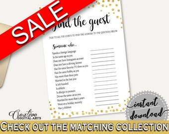 Find The Guest Bridal Shower Find The Guest Gold Confetti Bridal Shower Find The Guest Bridal Shower Gold Confetti Find The Guest Gold CZXE5