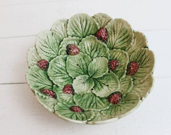 French Vintage Majolica Strainer Dish - Fruit Bowl, French country, Strawberry Drainer, Berry Bowl, Fruit Basket, Majolica Bowl, Green Bowl