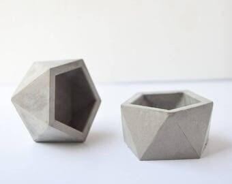 Concrete Icosahedron Planter/Tea Light Holder/Geometric