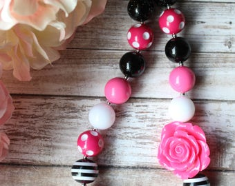 Minnie Mouse Inspired Bubblegum Necklace