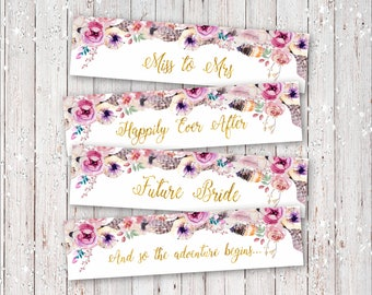 Instant Download Bridal Shower Boho Style Flowers and Feathers With Gold Foil Letters Water Bottle Labels