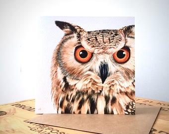 Eagle Owl Greetings Card - Owl Card - Owl Art - Owl Painting - Owl Portrait - Wildlife Art - Wildlife Card - Blank Card - Birthday Card