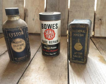 Vintage Hardware Jars, Tins, Containers, Flux, Tire Repair, Headlights, Rustic