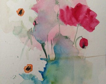 ORIGINAL WATERCOLOR watercolor painting art flowers flowers Watercolour watercolor postcard abstrackt