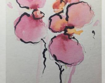 Art Floral flower painting orchid postcard flowers Print