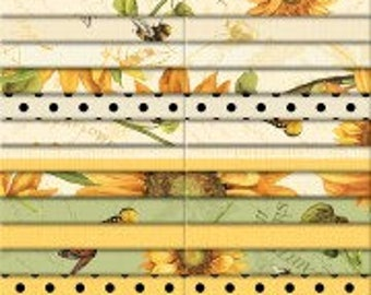 "Wilmington Prints - Follow The Sun 40 Karat Crystals/Jelly Roll by Lisa Audit - 40, 2.5"" x 42"" Precut Fabric Strips"