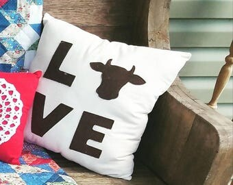 Love cow pillow