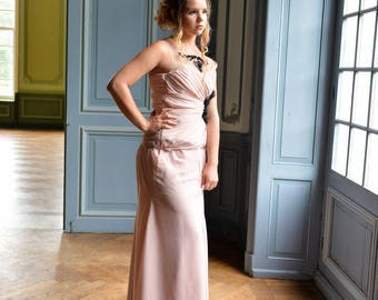Handmade pink embroidered evening gown