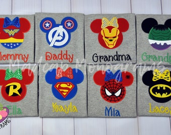 Family -Superhero- Disney-Cruise -Shirt -Mouse- Ears - Applique -Family -Mickey - Minnie- Personalize- T-Shirt - Embroidery - Custom- Name