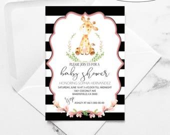 Baby Giraffe Invitation / Safari Baby Shower / Mommy to be / thank you card / invitaciones de bebe / baby girl / bienvenida de bebe /