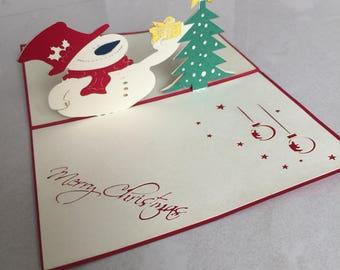 Snowman Pop Up Card, Pop-Up Card, 3D Card, Christmas Card, Blank Card