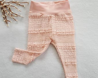 Baby girl leggings/Pink ruffle baby leggings/easter baby leggings/0-3month baby girl leggings/Infant baby girl footless tights/boutique baby