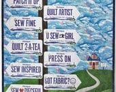 Fabric license plate quilt pattern Which Way to the Quilt Shop? for row by row collectors