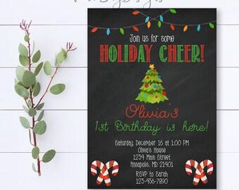Christmas Birthday Invitation, Christmas Birthday Party Invite, Christmas Party Invitation, Holiday Birthday Invitation, Christmas Birthday