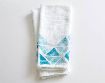 Flour Sack Towel, Hand Printed, Triangle Repeat Pattern, Turquoise, Blue, Green