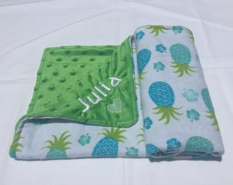 COZY - Customize Me! Green and Blue Pineapple Blanket with Green Minky Dot Fleece