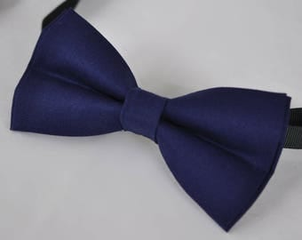 Unisex Men 100% Cotton Quality Navy Blue Solid Color Handmade Bow Tie Bowtie Craft Wedding Party