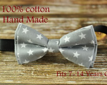 Boy Kids Teenage Youth 100% Cotton Grey White Stars Parttern Bow Tie Bowtie 7-14 Years Old Wedding Party