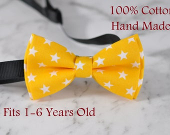 Boy infant Kids Baby 100% Cotton YELLOW Stars Bow Tie Bowtie Wedding 1-6 Years Old