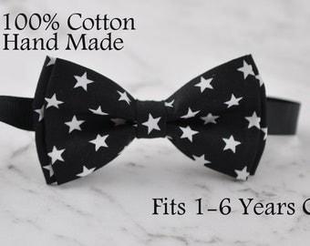 Boy infant Kids Baby 100% Cotton BLACK- WHITE Stars Bow Tie Bowtie Wedding 1-6 Years Old