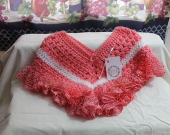 Strawberry (Peach) Crocheted Poncho with Lace Trim