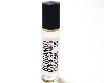 BERGAMOT + MYRRH PERFUME - Myrrh Oil - Roller Bottle - Roll On Perfume - Bergamot Oil - Travel Size Bottle - Vegan Gift - Amber Perfume