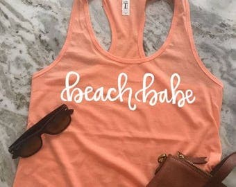 Beach Babe Hand-Lettered Women's Graphic Tank Top - Racerback Tank - Work Out Tank - Work Out Shirt - Mom Tank -Exercise Tank - Beach tank