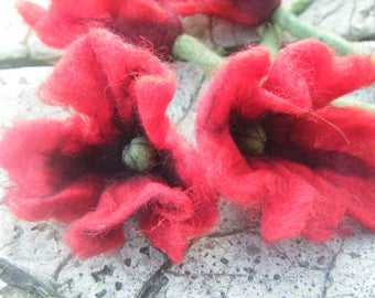 felted 'poppies' flowers