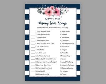 Match the Disney Love Songs, Navy Blue Silver Bridal Shower Games, Printable, Disney Songs Match Game, Floral Bridal Shower, J022