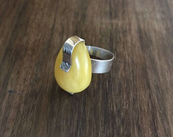 Natural Baltic Lemon Amber Adjustable Silver Ring, Amber Statement Jewellery