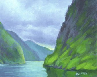 NORWAY FJORD SEASCAPE Scene in Original 8 x 10 Acrylic Painting by Sharon Weiss