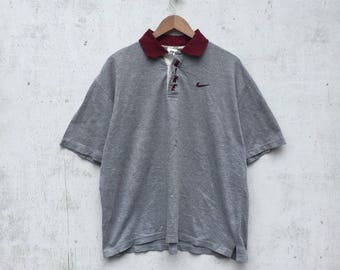 Vintage NIKE Polo Shirt 1990s Nike Spellout Design Large Size #835