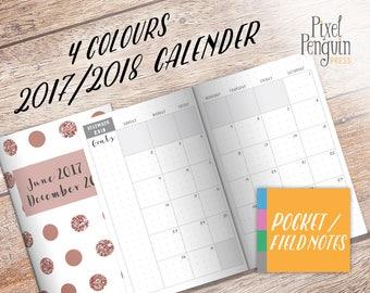 Monthly Planner, Printable Pocket Size Traveler Notebook, 2017 2018, TN Insert Pocket Size, MO2P Planner Insert, Bullet Journal Download