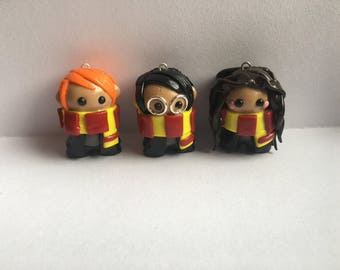 Harry Potter- Ron Weasley- Hermione Granger- Polymer Clay- SHIPS FREE!