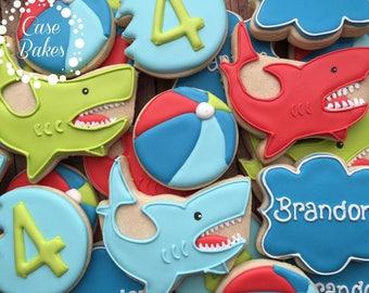 Shark Birthday Cookies - 1 dozen