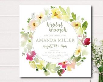 Bridal Shower Invitation, Bridal Shower Brunch Invitation, Bridal Brunch, Pink Green Bridal Shower Invitation Rustic Bridal Shower Wreath