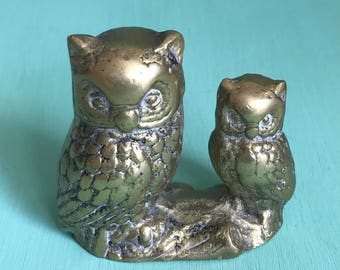 Brass Owl Figure of Two Birds on a Log Vintage